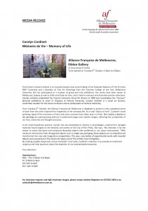Media Release 'Memory of Life' Carolyn Cardinet_Oct 2013_2